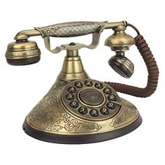 Design Toscano Antique Phone - Versailles Palace 1935 Rotary Telephone - Corded Retro Phone - Vintage Decorative Telephones -- Details can be found by clicking on the image. (This is an affiliate link) Antique Phone, Versailles, Felt Phone, Palace, Brass Patina, Retro Phone, Vintage Phones, Home Phone, Bone China