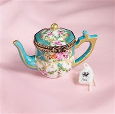 Limoges Turquoise Roses Teapot with Tea Bag Box The Cottage Shop