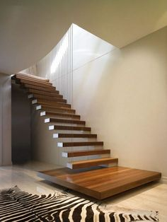 Breathtaking 8 Simple Stair Design And Decorating Ideas To Beautify Your Home How to design simple staircase stairs? The simplicity of the design of the household stairs requires the design, installation, and finishing that is p. Steel Railing, Cantilever Stairs, Modern Stair Railing, Wood Staircase, Floating Staircase, Stair Handrail, Modern Stairs, Staircase Design, Staircase Ideas