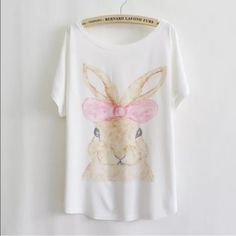 """Animal Print Tee New~Rabbit Animal Print Tee New~Rabbit Style- Loose Batwing Sleeve Length 25.98"""" Bust: 43""""-47"""" Soft and Comfy Fit~Fabric: 65%Cotton, 35%Polyester Smoke FREE Home No Tradefirm unless bundled Cute Tops Tees - Short Sleeve"""