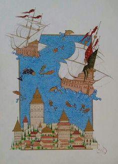 Ilk minyatürum#GalataKulesi#minyatur#illüstrasyon#minyatüre#art#artist#Gold#acrylic#watercolor#my work#♥♥♥♥♥