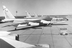 Side view of Boeing B-52Bs. Three closest aircraft with visible tail numbers are B-52B-35-BO (S/N 53-0396), RB-52B-30-BO (S/N 53-0377) and B-52B-35-BO (S/N 53-0391). (U.S. Air Force photo)