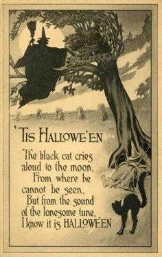 "'Tis Hallowe'en - The black cat cries aloud to the moon, From where he cannot be seen, But from the sound of the lonesome tune, I know it is HALLOWE'EN. gravesandghouls: "" Halloween postcard c. Retro Halloween, Halloween Poems, Vintage Halloween Images, Halloween Greetings, Halloween Prints, Halloween Pictures, Vintage Holiday, Holidays Halloween, Spooky Halloween"