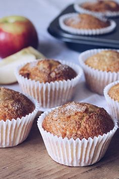 "Apple Muffins by - ""These are lovely and light. I diced 2 apples, and used cinnamon in the mixture too. I'll be making these again. Cinnamon Muffins, Savory Muffins, Apple Muffins, Baking Muffins, Healthy Muffins, Muffin Recipes, Baking Recipes, Dessert Recipes, Desserts"