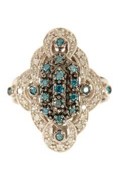Blue & White Diamond Ring - 0.50 ctw