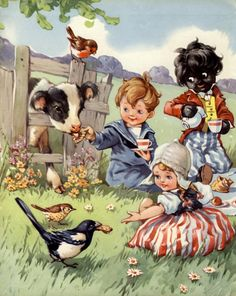 Golliwog Illustration....Picnic With The Birds And The Cow~ c.1950s A. E. Kennedy ~ Illustration.