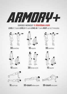 Armory Plus Workout - Concentration - Full Body - Fitness Mma Workout, Gym Workout Tips, Weight Training Workouts, Dumbbell Workout, Fit Board Workouts, Boxing Workout, At Home Workouts, Boxing Training, Workout Exercises