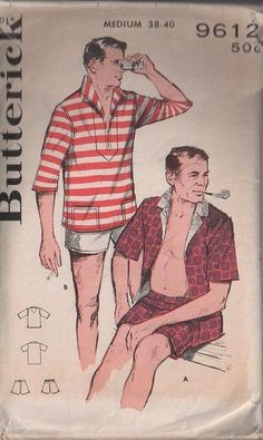 MOMSPatterns Vintage Sewing Patterns - Butterick 9612 Vintage 60's Sewing Pattern SUPER COOL Men's Rockabilly Cabana Set Sports Shirt, Wing Collar Italian Sailor Pullover, Hawaiian Tiki Casual Shirt & Swim Trunks, Bathing Suit, Shorts M