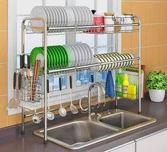 dish racks Over The Sink Dish Drying Rack - Finnish sink drying rack - Tiny home drying rack Kitchen Rack Design, Diy Kitchen Storage, Kitchen Shelves, Modern Kitchen Design, Home Decor Kitchen, Interior Design Kitchen, Kitchen Furniture, Kitchen Racks, Furniture Cleaning