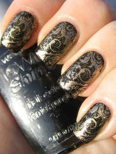 "China Glaze ""5 Golden Rings"" over China Glaze ""2030"" and Wet n Wild ""Black Creme"""