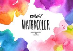 Watercolor backgrounds and splashes - Illustrations - #ad