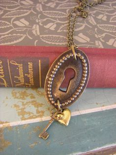 Antique Keyhole necklace with heart and key