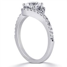Pavé Halo Engagement Ring: This beautiful halo engagement ring is simply perfect.  It is set with approx. 0.34ct TW of G-SI side stones.  Available for other shapes, prices may vary.  Matching wedding band sold separately.