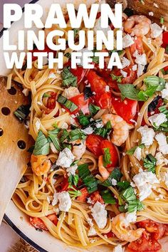 This chilli prawn linguini is packed with garlic, tomatoes and basil. The dish is finished with a sprinkling of crumbled feta for a hint of saltiness. #thecookreport #prawnlinguini #prawnpasta #linguini Easy Pasta Recipes, Spicy Recipes, Vegan Recipes Easy, Easy Dinner Recipes, Seafood Recipes, Savoury Recipes, Cheese Recipes, Delicious Recipes, Recipes