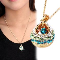 Charming Jewelry Multi-colored Crystal Rhinestones Inlaid Teardrop Shaped Pendant Necklace NL-0518