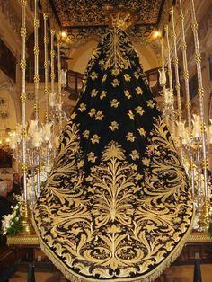 Spanish embroidery gold on black velvet of Nuestra Señora de los Dolores. 1790. Antequera, Malaga. Spain. Goldwork embroidery