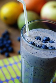 Breakfast Smoothie  Ingredients:  1/2 to 1 banana,  1/2 cup blueberries,  1/2 cup low-fat yogurt,  1/4 tsp vanilla extract,  4 tbsp muesli,  1 cup milk,  optional: sugar or honey,  optional: ice cubes