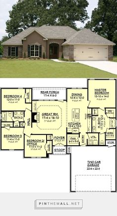 Traditional Style House Plan 1750 Sq Ft Plan created via pinthemall net Ranch House Plans, New House Plans, Dream House Plans, Small House Plans, House Floor Plans, My Dream Home, Dream Homes, Retirement House Plans, Rambler House Plans