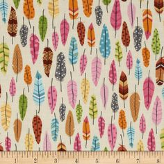 Timeless Treasures Under the Stars Feathers Cream from @fabricdotcom  Designed for Timeless Treasures, this cotton print fabric is perfect for quilting, apparel and home decor accents. Colors include black, teal, green, grey, cream, yellow, white, shades of pink, and shades of brown.