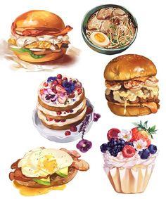 Real Food Recipes, Yummy Food, Cute Food Art, Food Sketch, Cute Food Drawings, Watercolor Food, Food Painting, Food Concept, Cafe Food