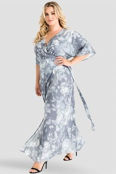 86655b659c2 Plus Size Standards   Practices Gray Floral Print Chiffon Kimono Wrap Maxi  Dress Chiffon Kimono