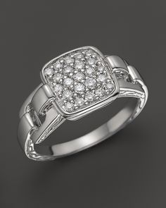 John Hardy Classic Chain Silver Rectangular Ring with Diamond Pave, 0.32 ct. t.w. on shopstyle.com