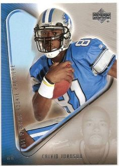 2007 Upper Deck NFL Players Rookie Premiere 15 # Calvin Johnson (RC) - Detroit Lions - Football Card - Mint Condition- Shipped in protective display case!! by Upper Deck. $3.99. Great Rookie Card of this NFL Rookie