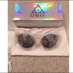 Unif The Moodys Clear Sunglasses Hard to come by UNIF The Moody Sunglasses in clear. Brand new, never worn! Comes with dust bag and box! UNIF Accessories Sunglasses