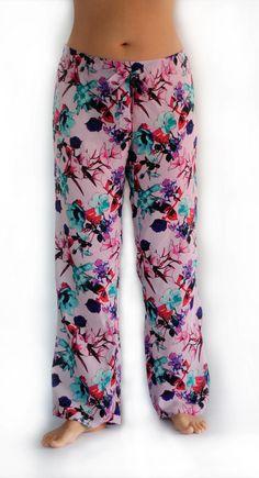 Handmade Italian silk pajama or lounge pants in beautiful, floral silk fabric.