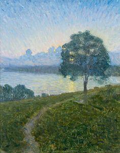 Mot solnedgången. Signerad Eugène Jansson. Utförd 1894. Duk 53 x 42 cm.