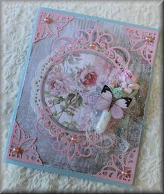 I absolutely love how this card turned out and it was all sort of an accident I just got this new Spellbinders die set and decided to try it out using a scrap of pink paper I had I wasn t sure if it would work on my Big Shot but it cut beautifully It just