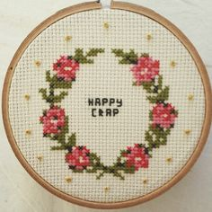Happy crap cross stitch design