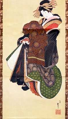 "Katsushika Hokusai (1760-1849), ""Courtesan"". Painting on silk. 1812-1821. Collection of Moshichi Yoshiara."