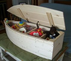 Wood Boat Toy Box Nautical Chest Hand Crafted Bookshelf by spinad1, $195.00