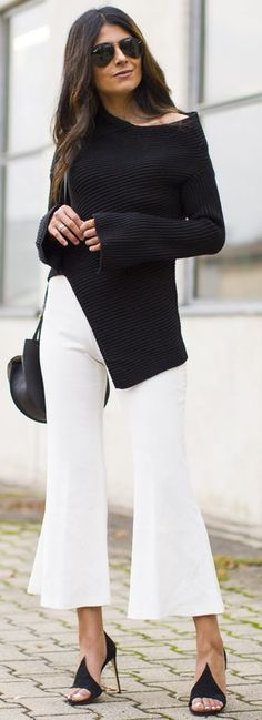 Fashion Landscape Francesco Russo Heels White Cropped Flares Black Joseph Asymmetric Sweater Fall Street Style Inspo