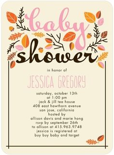 """A """"Sweet Autumn"""" baby shower invitation. Perfect for your fall arrival."""