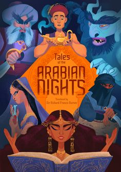 """Book cover illustration for the classic, """"Tales of the Arabian Nights"""""""