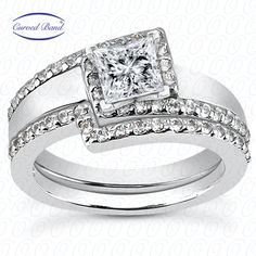 Offset princess cut diamond halo with matching band available at Wheat Jewelers