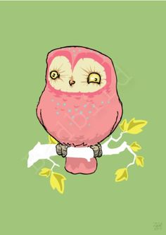 Pink Owl: If I were a pink owl, this is what I look like pre-coffee.