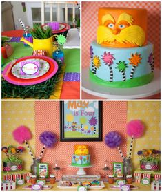 Lorax themed birthday party via Kara's Party Ideas KarasPartyIdeas.com Cake, printables, decor, recipes, stationery, desserts, and more! A fun Dr. Seuss party theme for the birthday boy or girl.