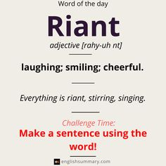 Word of the Day: Riant Unusual Words, Weird Words, Rare Words, Unique Words, Cool Words, Advanced English Vocabulary, English Vocabulary Words, English Idioms, Learn English Words