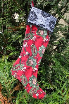 #Christmas Stocking Red Green Paisley Black by ChicChixnChampagne, $20.00