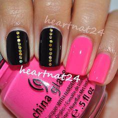 My simple NYE mani last night. OPI Black Onyx with gold hex glitter & China Glaze Beauty Within - @heartnat24- #webstagram