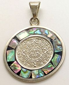 Sterling Silver Aztec Calendar Pendant Abalone Inlay Sun Dial Mayan Mexican  #Unbranded