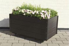Aflang sort blomsterkasse
