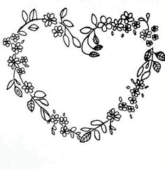 Black flowered heart We all love burning flowers, don't we? Embroidery Hearts, Hand Embroidery Stitches, Ribbon Embroidery, Embroidery Designs, Burning Flowers, Arte Linear, Wreath Drawing, Flower Doodles, Heart Patterns