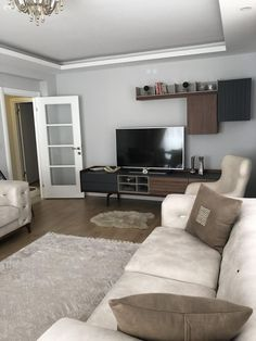 Salon, Tv ünitesi What's Decoration? Decoration may be the art of decorating the inner and exterior of the building type … Step Inside, Tv Unit, Contemporary Decor, Sofa Set, Lounge, Curtains, Living Room, Pillows, Design