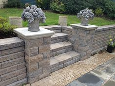 flowers on pillars, paver patio, Back Yards, Patio, Stairs, Posts, Walls & Courtyard