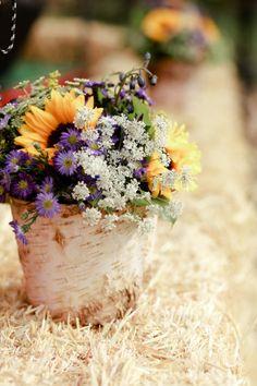 sunflower wedding Wedding Inspiration - Style Me Pretty