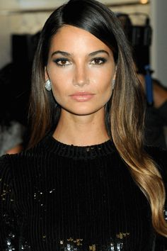 Lily Aldridge with long glossy locks